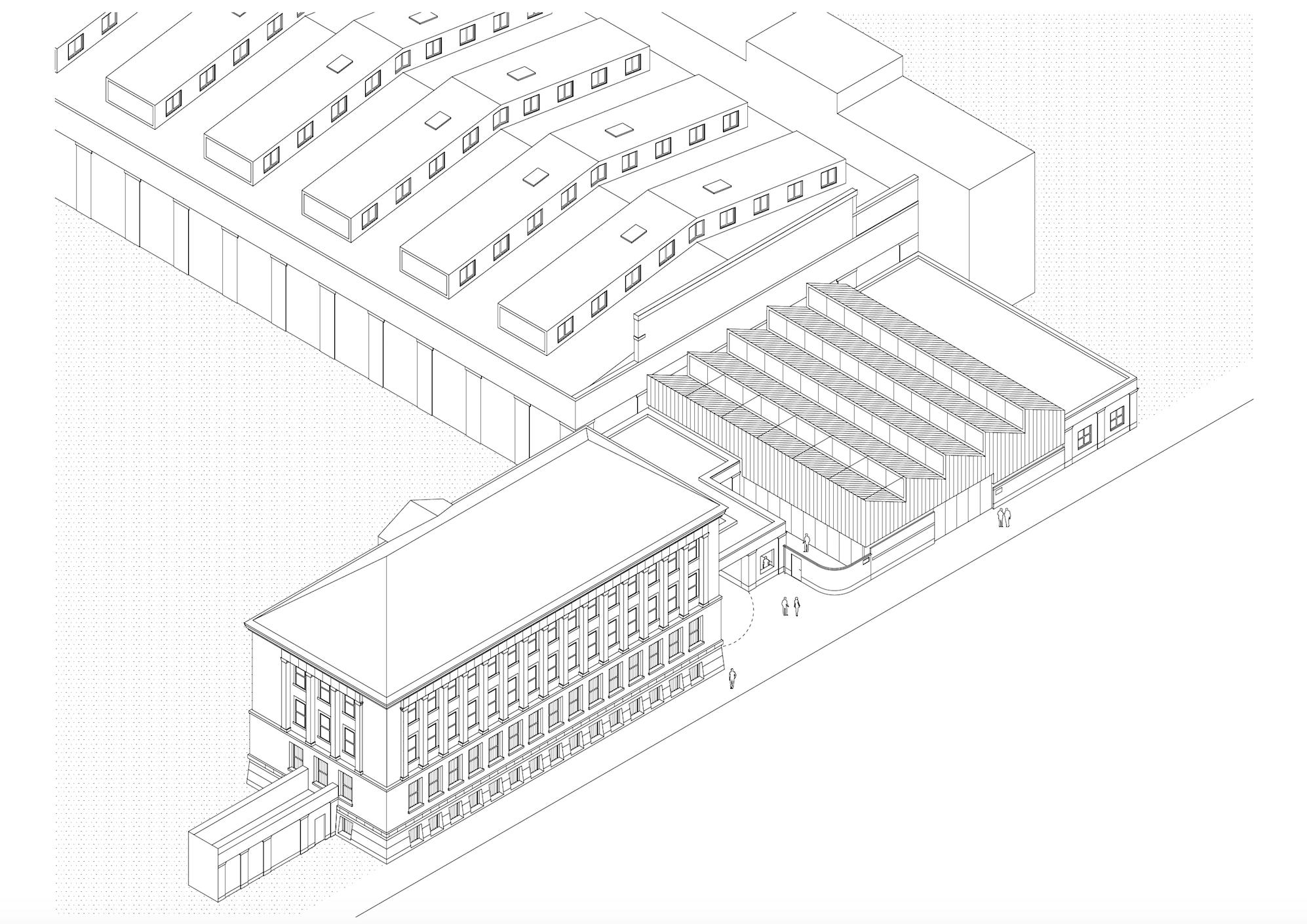 Axonometrie Festhalle Rheistahlgelände Tanja Lincke Architekten