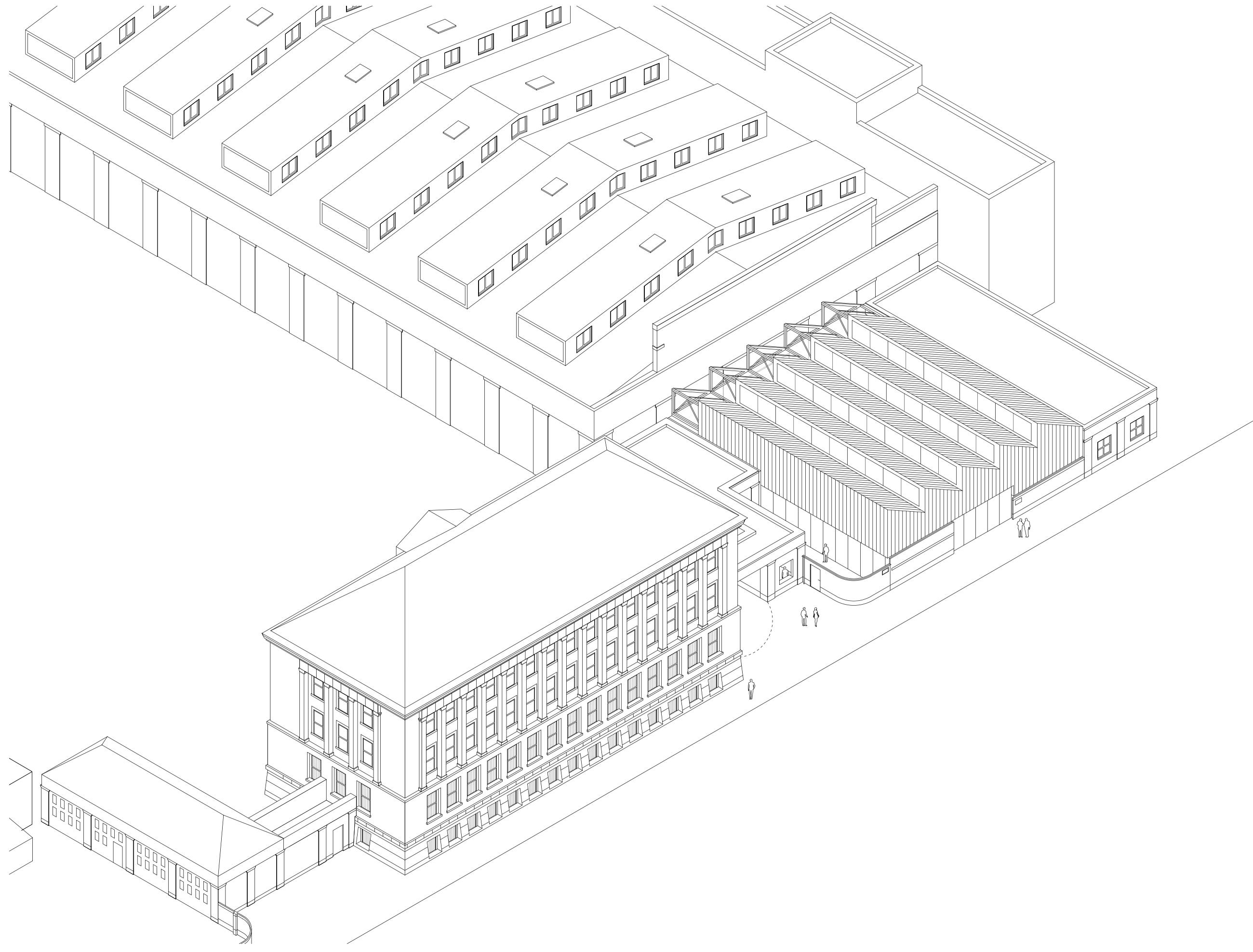 Rheinstahlhalle Axonometrie Tanja Lincke Architekten