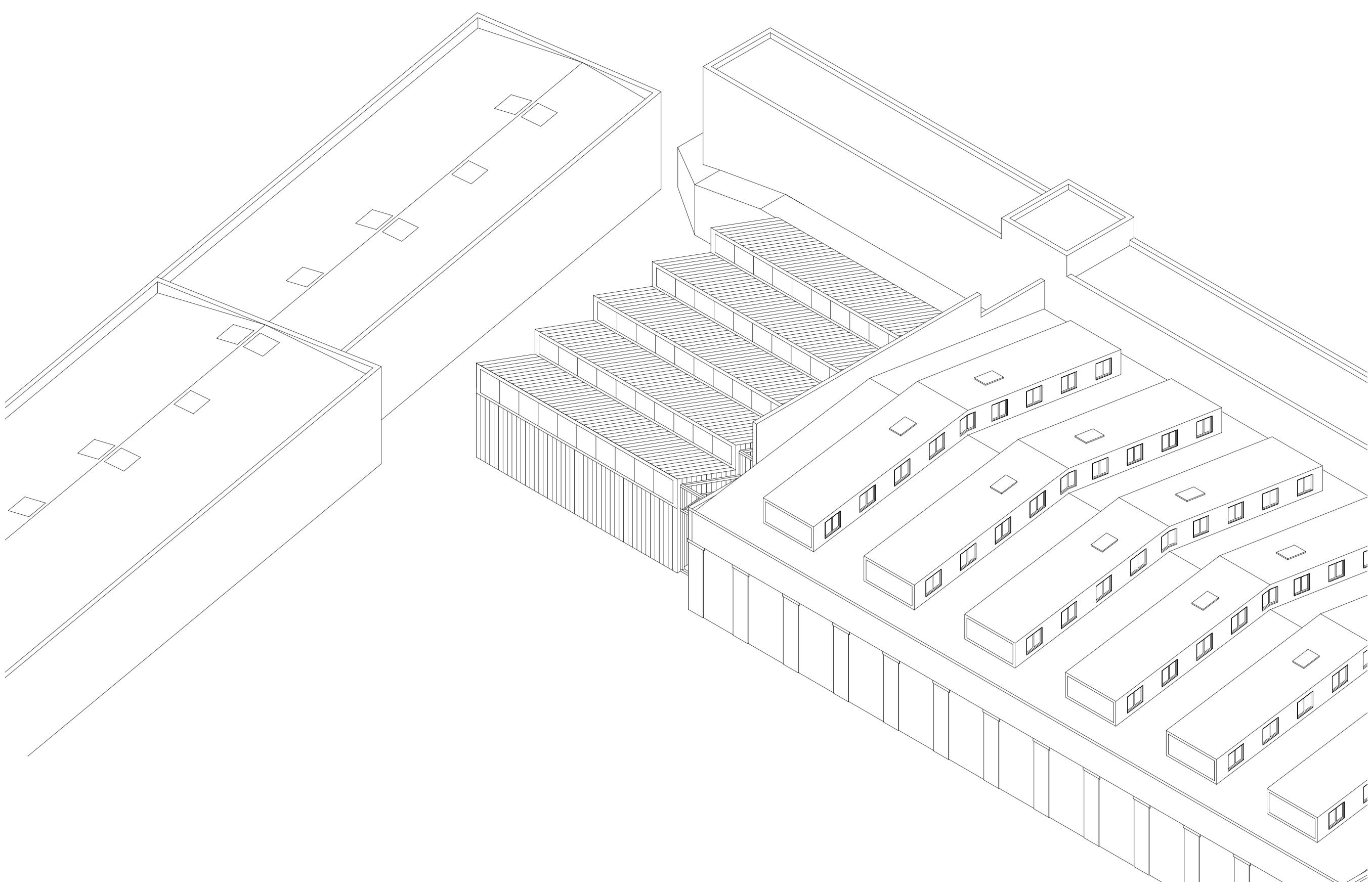 Rheinstahlhalle Axonometrie Rückbau Tanja Lincke Architekten